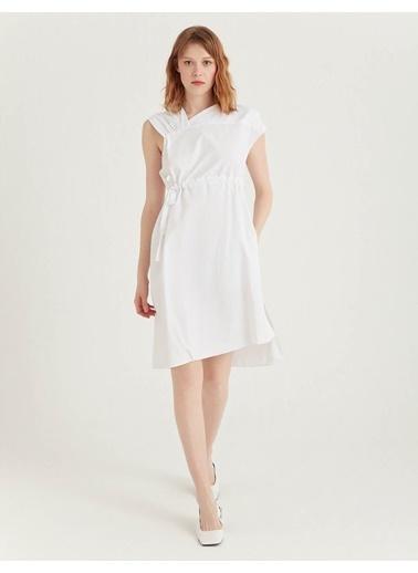 BGN Beyaz - Asimetrik Poplin Elbise Beyaz